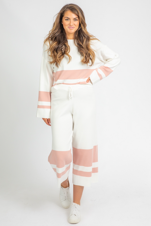 BLUSH + IVORY STRIPE PANT SET