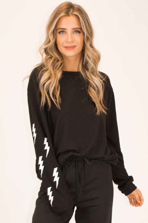 BOLT SLEEVE PULLOVER IN BLACK
