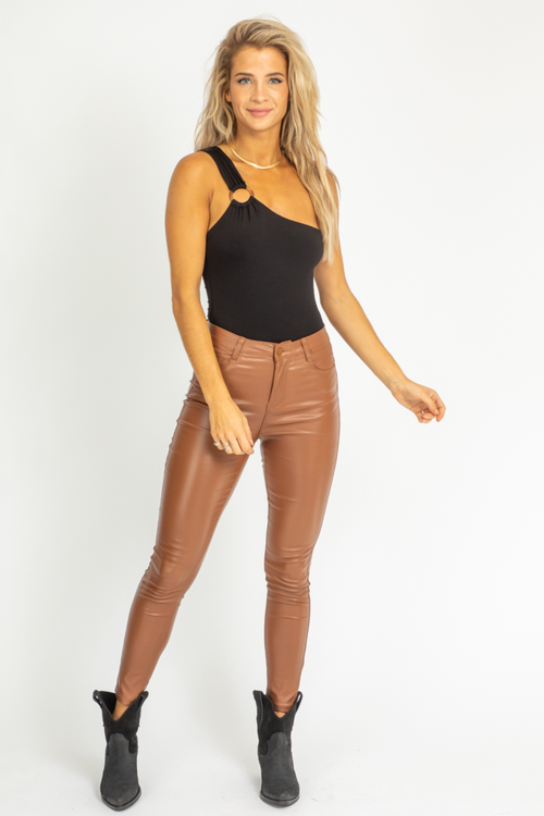 BROWN COATED HIGH RISE PANTS