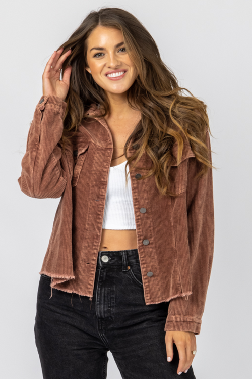 BROWN CORDUROY MINERAL WASH JACKET