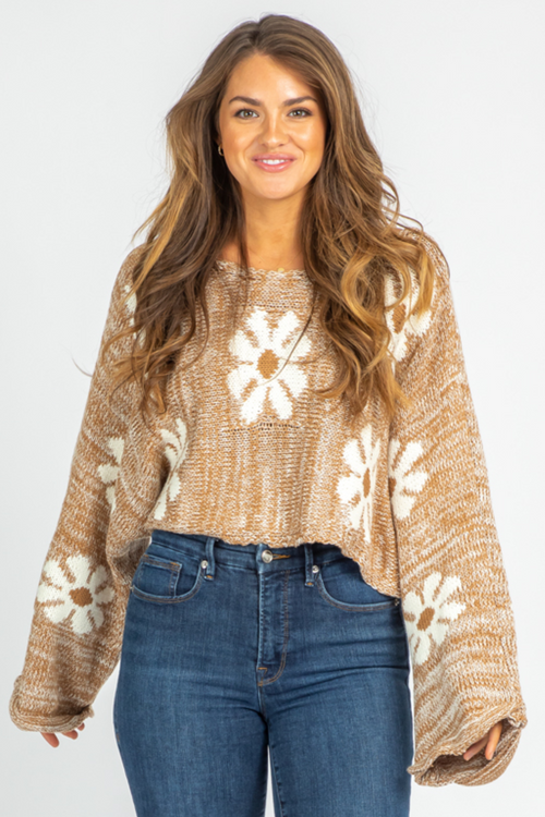 BROWN FLORAL BELLSLEEVE KNIT