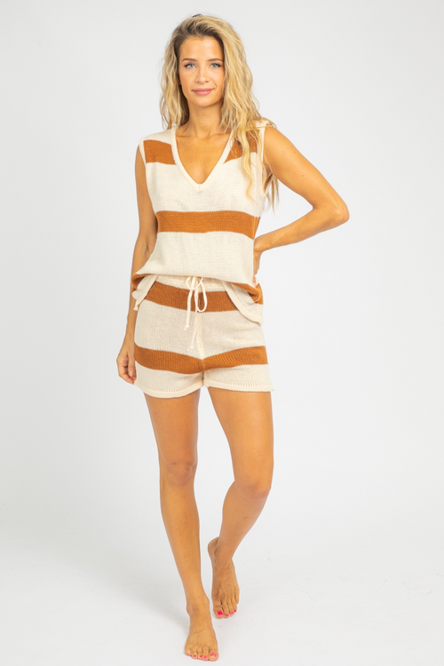 BROWN STRIPED COZY SET