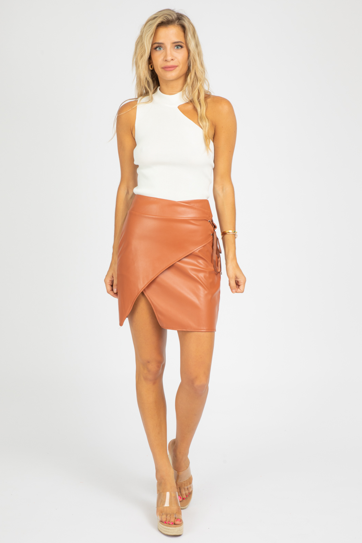 BROWN LEATHER SIDE TIE SKIRT