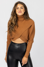 CAMEL OVERLAY CROPPED SWEATER