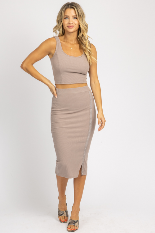 MOCHA RIBBED TANK + BUTTON MIDI SET