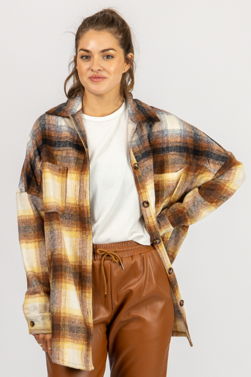 BROWN + MUSTARD PLAID SHIRT JACKET