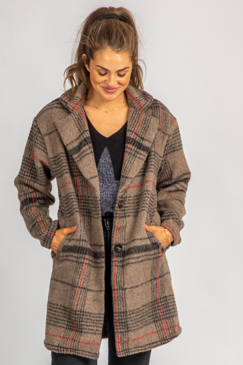 BEIGE + RED PLAID LONG COAT