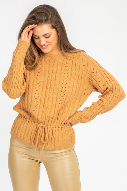 CAMEL CABLEKNIT WAIST CINCH SWEATER