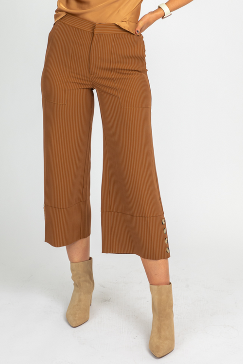 CAMEL PINSTRIPE WIDE LEG TROUSERS