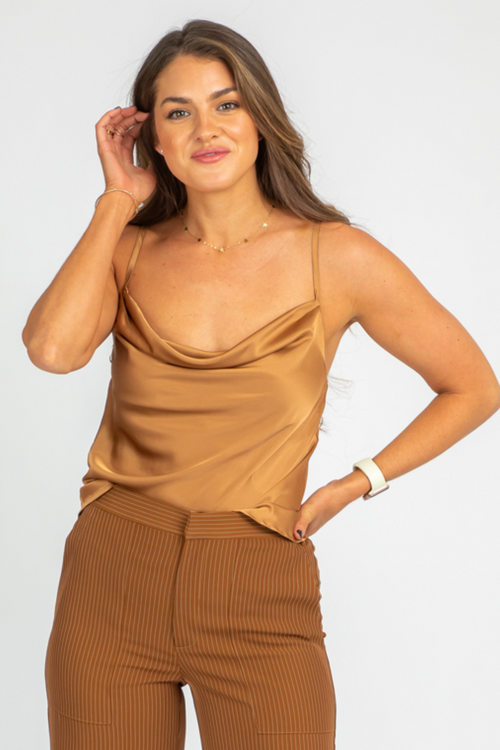 CARAMEL COWL NECK TOP