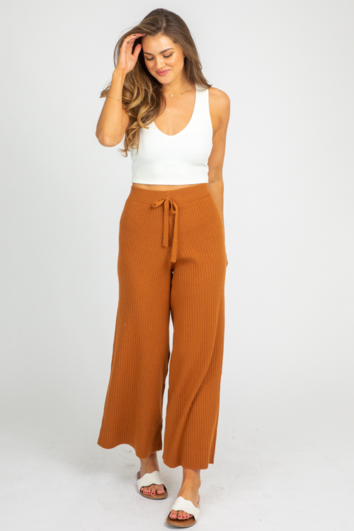 CARAMEL RIB KNIT PANTS