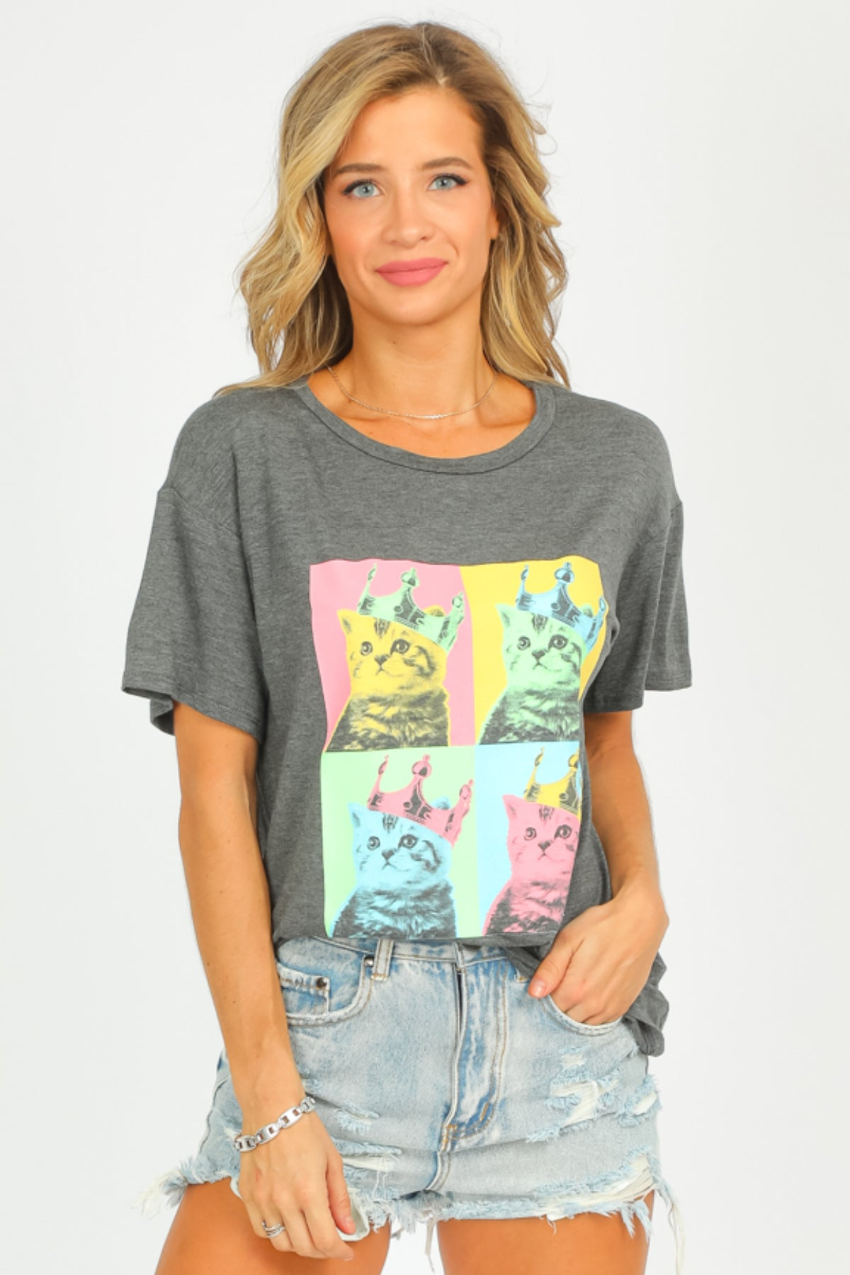 CAT CROWN GRAPHIC TEE