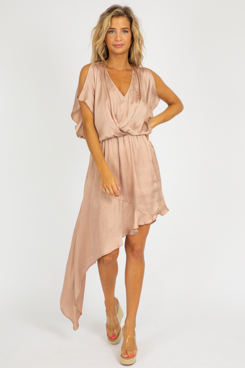 CHAMPAGNE ASYMMETRICAL DRESS