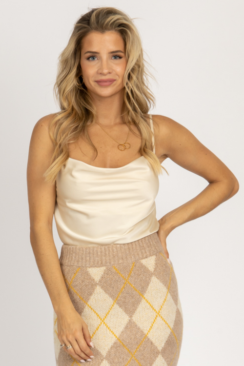 CHAMPAGNE COWL NECK TOP