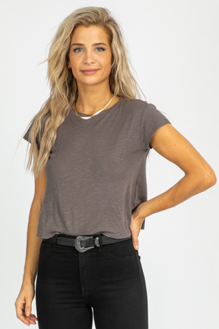 OATMEAL HALF-SLEEVE KNIT TOP