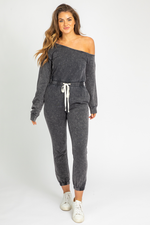 CHARCOAL OFF-SHOULDER LOUNGE JUMPSUIT