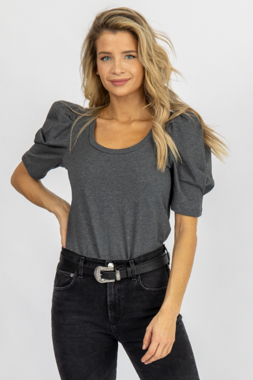 CHARCOAL U-NECK PLEATED PUFF TOP