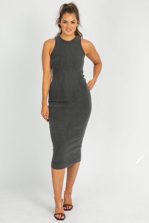 CHARCOAL RIBBED RACERBACK MIDI