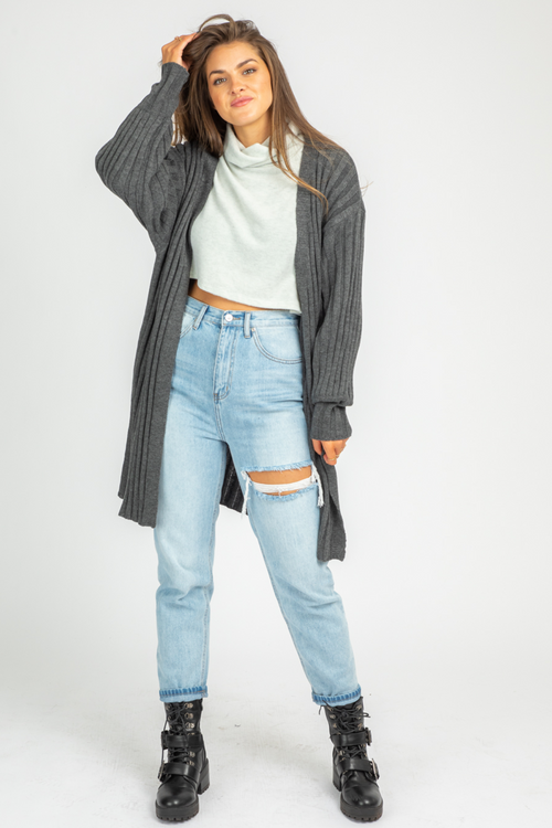 CHARCOAL SIDE POCKET CARDIGAN