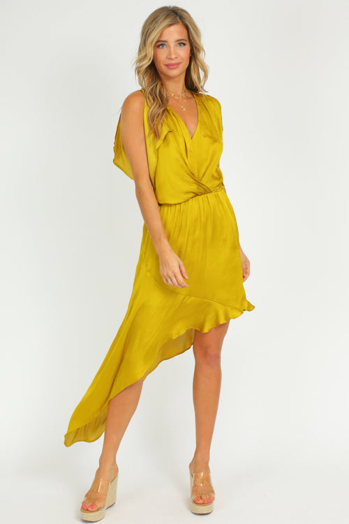 CHARTREUSE ASYMMETRICAL DRESS