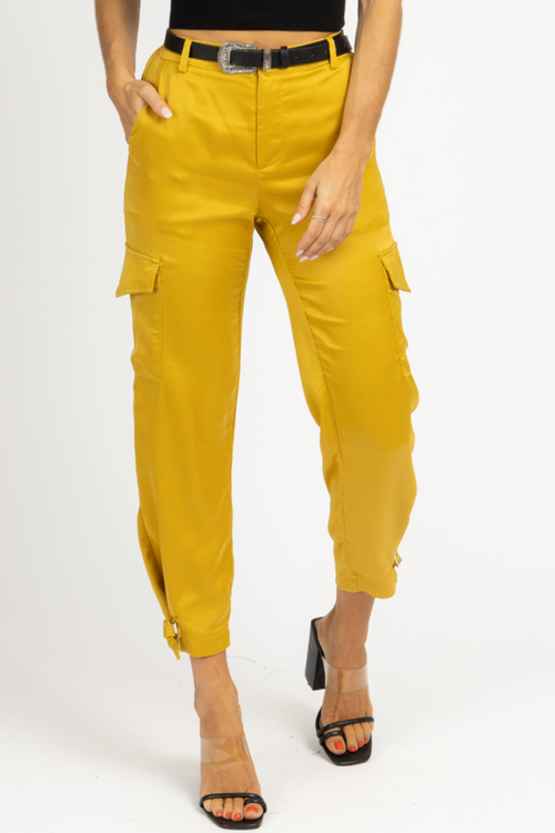 CHARTREUSE CARGO SATIN PANTS *BACK IN STOCK*
