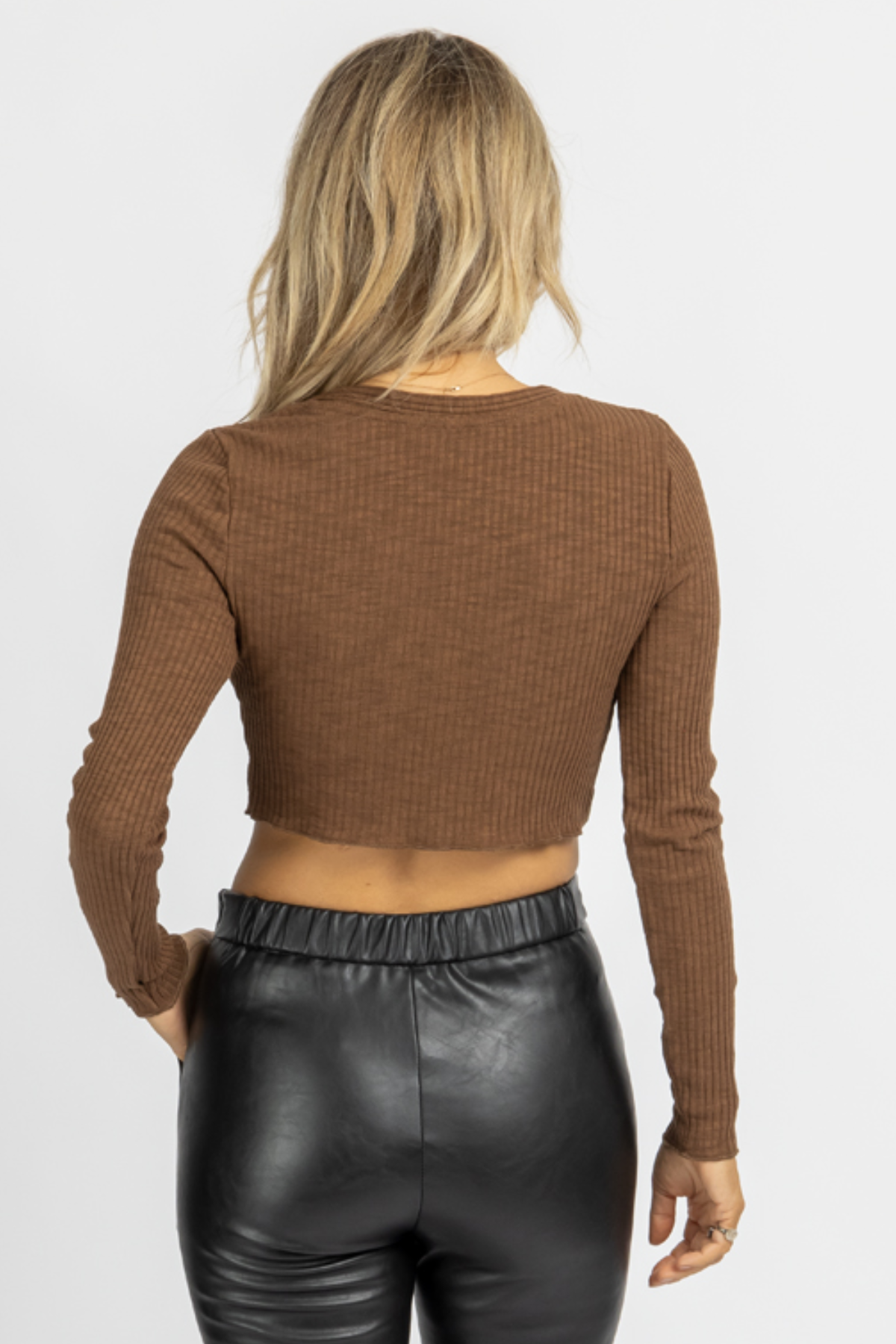BROWN KNIT BUTTON FRONT CARDIGAN