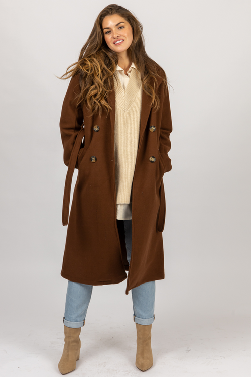 CHOCOLATE WOOL TRENCH COAT