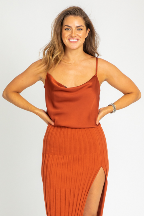 CINNAMON COWL NECK BODYSUIT