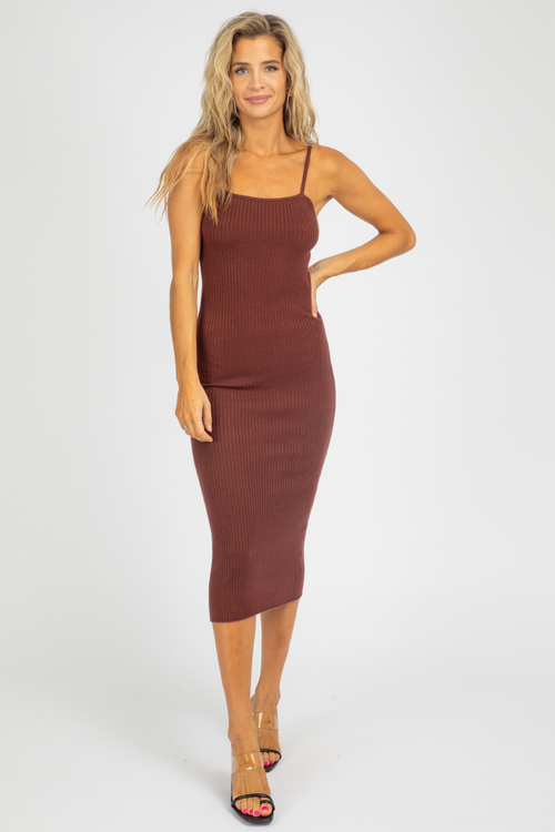 MAROON STRAIGHT NECK KNIT MIDI