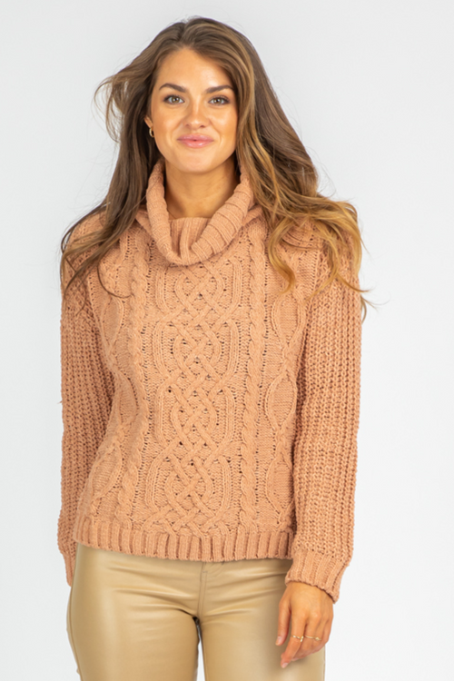 CLAY CABLEKNIT TURTLENECK SWEATER