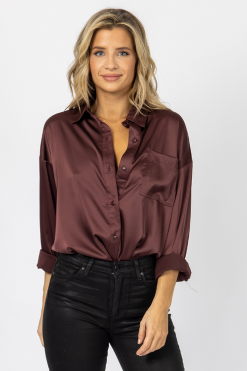 COCOA SATIN BUTTONDOWN TOP
