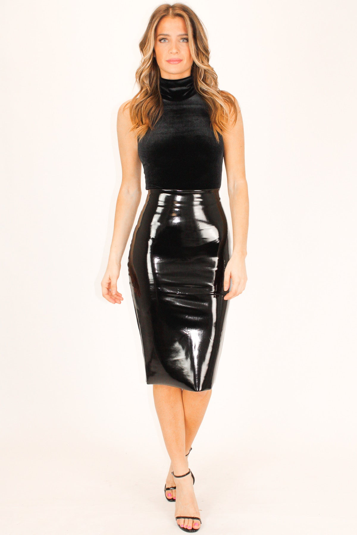 COMMANDO FAUX PATENT LEATHER MIDI SKIRT