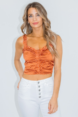 COPPER POLKA DOT CROP TOP