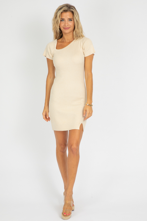 CREAM ASYMMETRICAL KNIT MINI