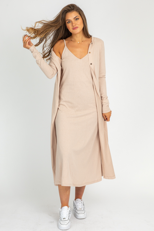 CREAM KNIT MIDI DRESS + CARDI SET