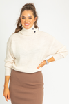 CREAM BUTTON NECK KNIT