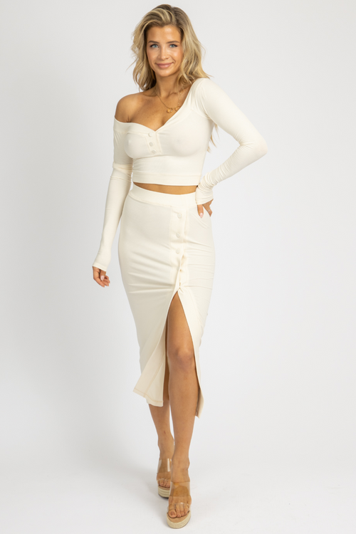 CREAM BUTTON CROP + MIDI SKIRT SET
