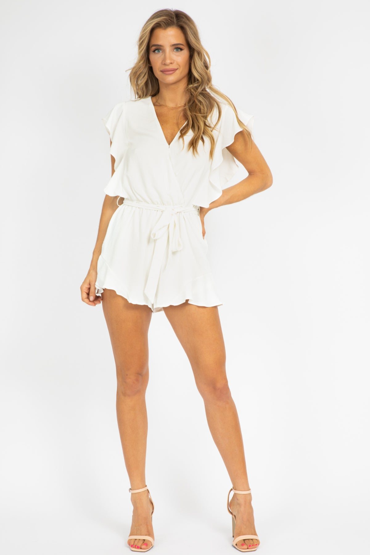OFF WHITE FLOUNCE ROMPER