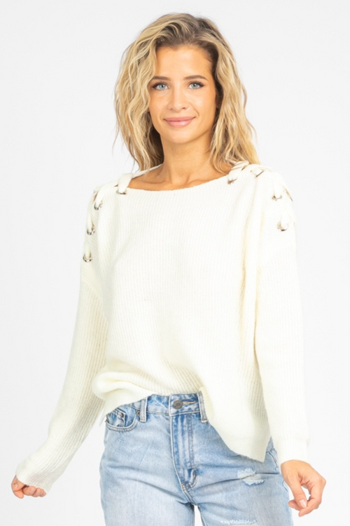 IVORY GROMMET + LACE SHOULDER SWEATER