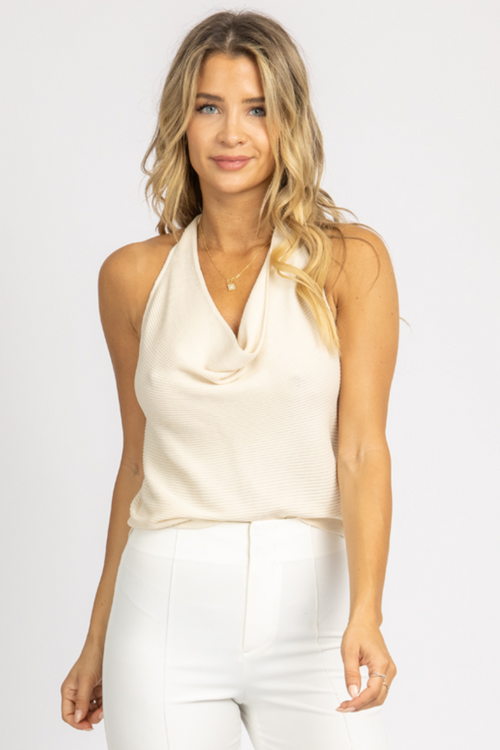 CREAM HALTER COWL NECK KNIT TOP