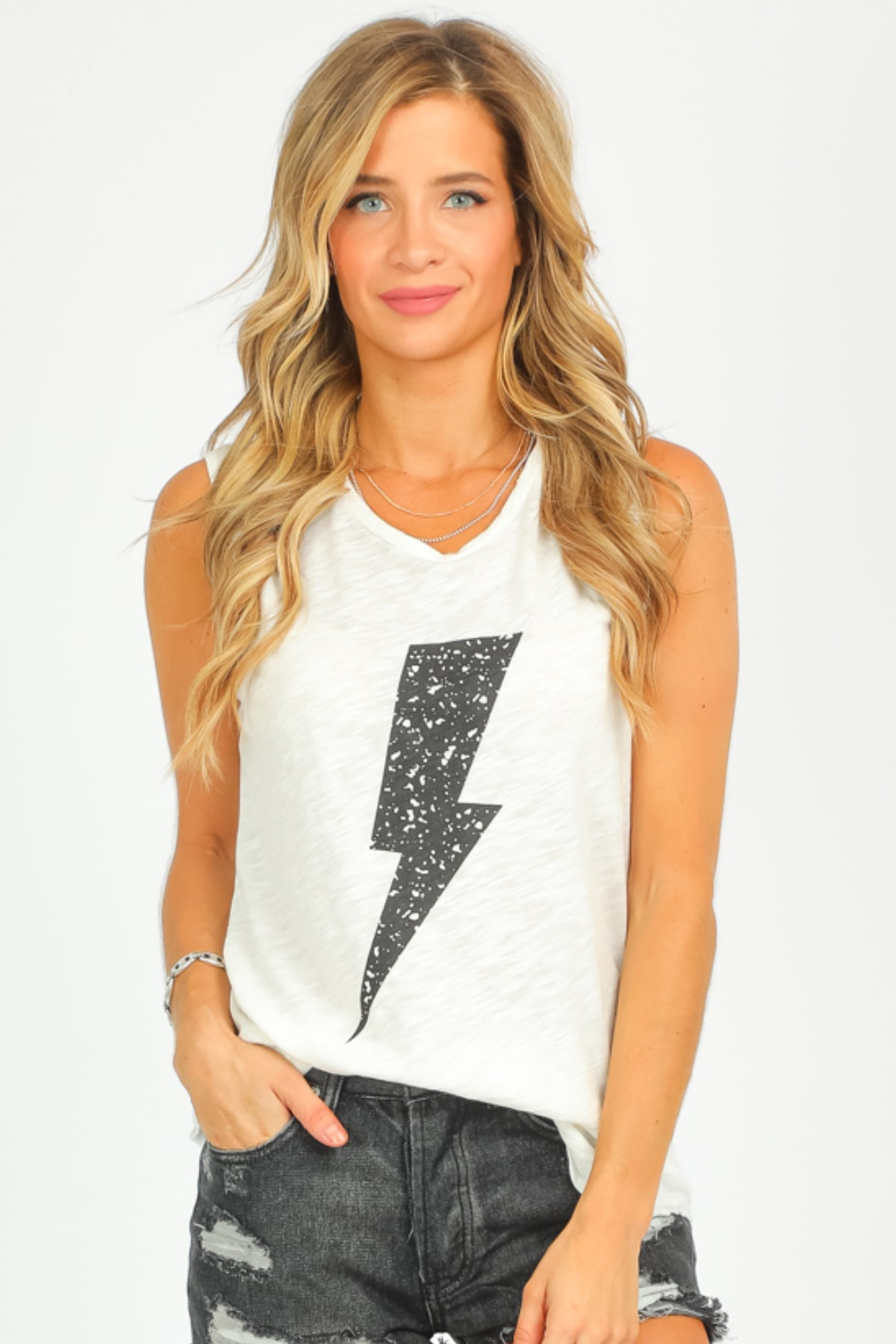 OFF WHITE LIGHTNING TANK