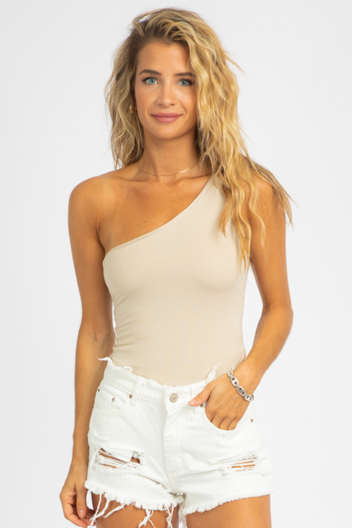 CREAM ONE SHOULDER TANK