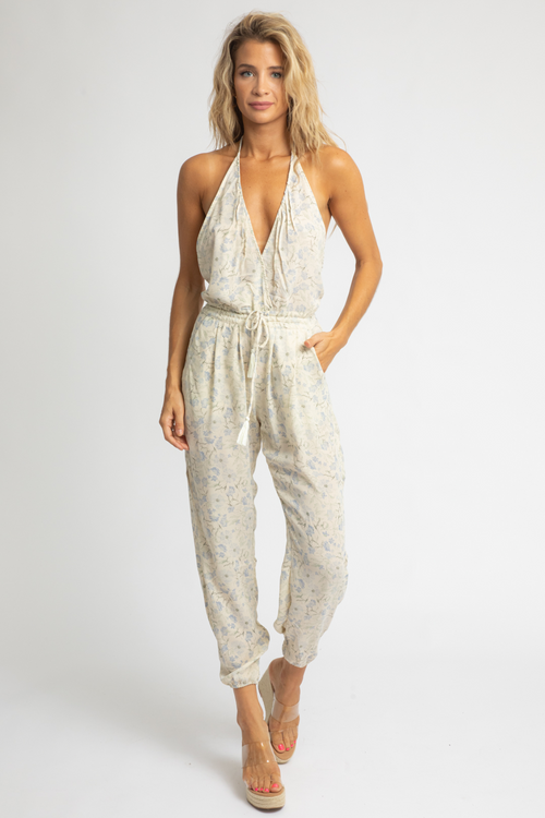 FLORAL HALTER SIDE SLIT JUMPSUIT