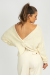 CREAM BACK DETAIL FUZZY KNIT