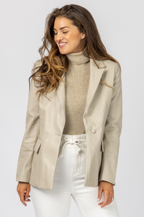 CREAM VEGAN LEATHER BLAZER