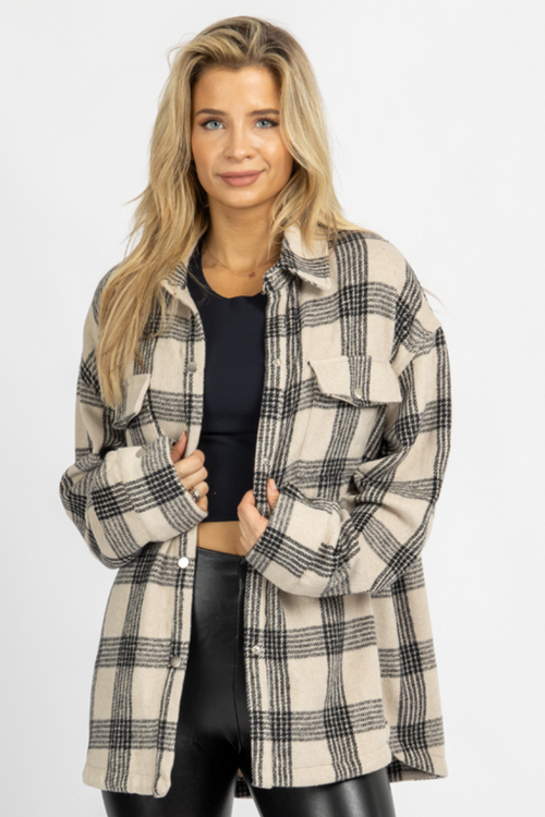 TAN + BLACK PLAID SHIRT JACKET
