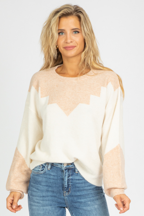 IVORY + BLUSH KNIT SWEATER