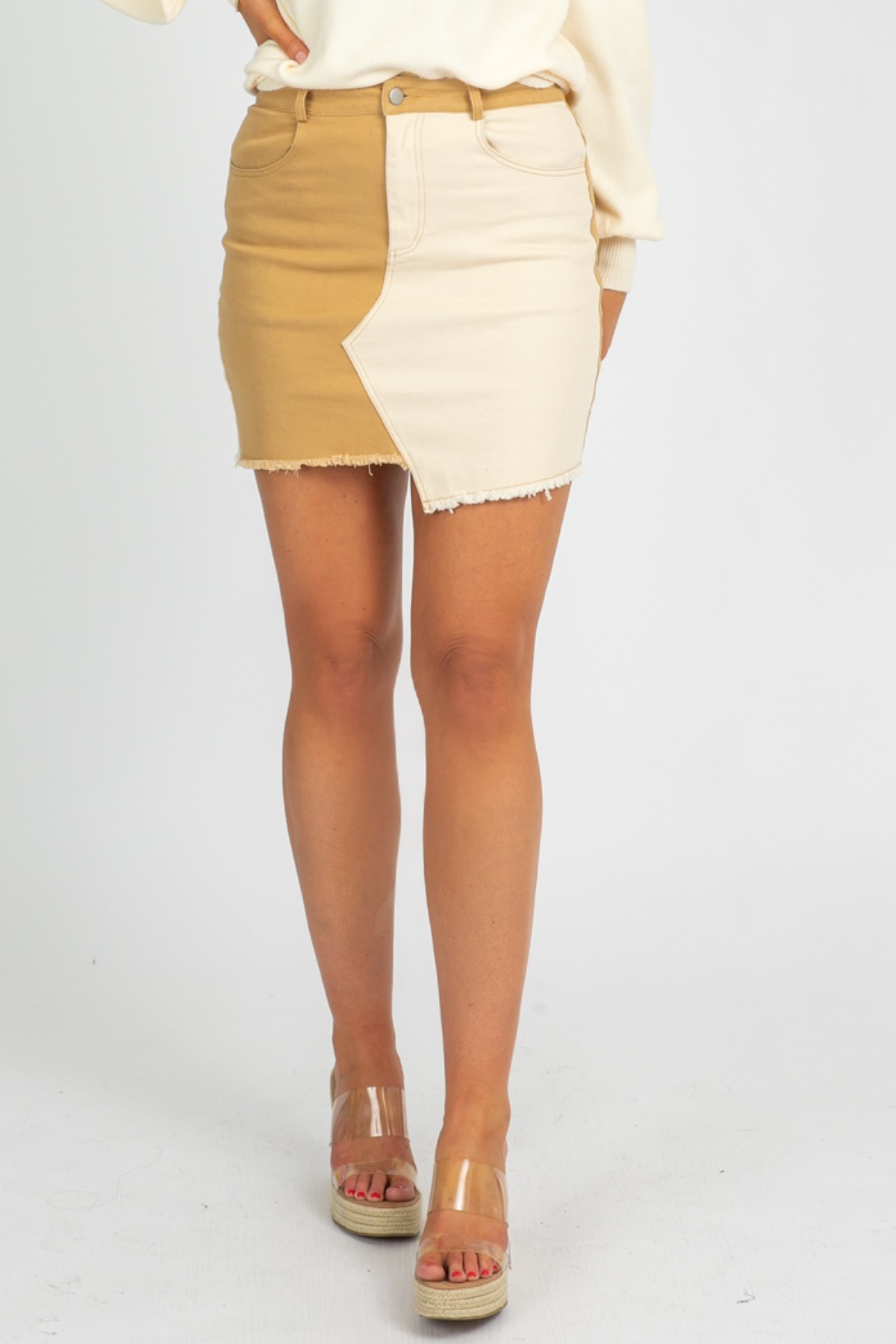 CAMEL COLORBLOCK SKIRT