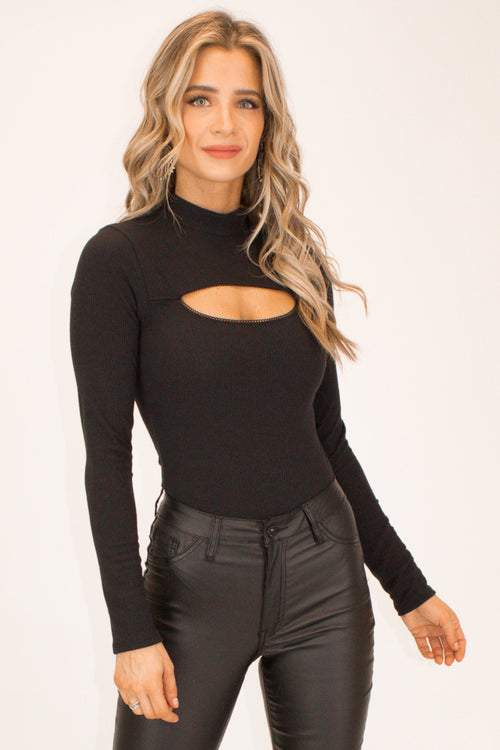 BLACK RIBBED CUTOUT BODYSUIT