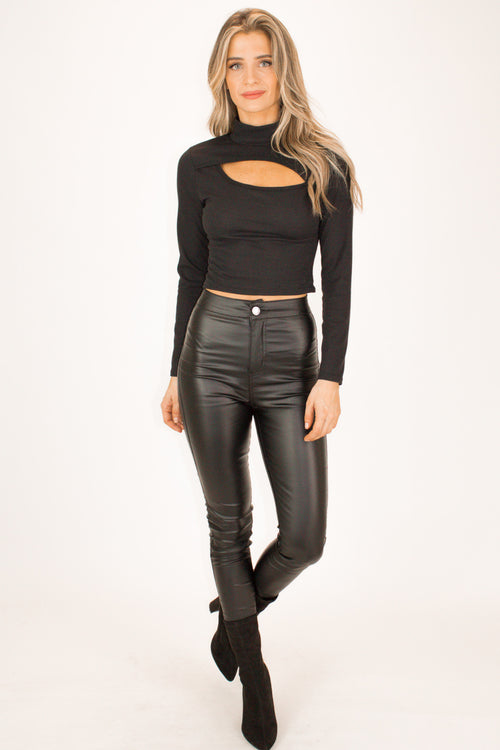 MOCK NECK CUTOUT KNIT TOP